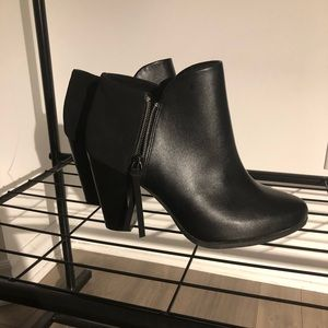 Faux black leather + suede ankle boots